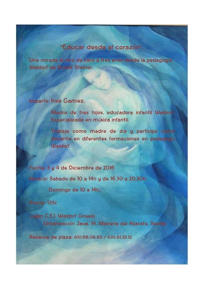 """Taller """"Educar desde el corazón"""" con Inés Gámez 3-4 de diciembre"""