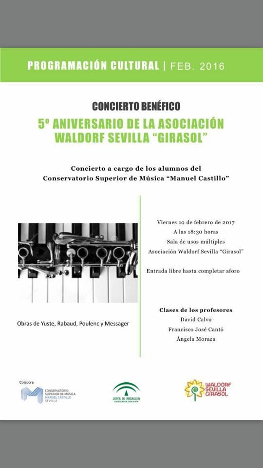 """Concierto benéfico en colaboración con el Conservatorio Superior de Música """"Manuel Castillo"""" de Sevilla. Viernes 10 de febrero 18.30"""