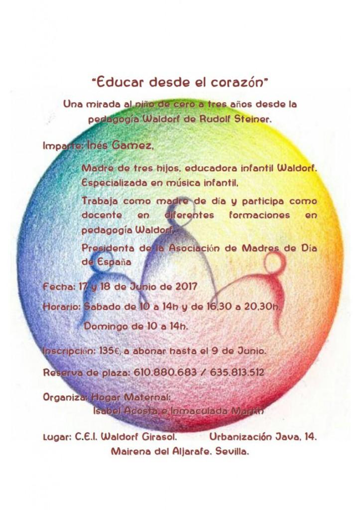 Educar desde el corazón. Ines Gamez 17 y 18 de junio