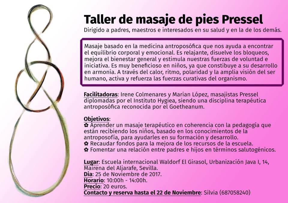 25 noviembreTaller Masaje de pies Pressel/Pressel foot massage workshop.