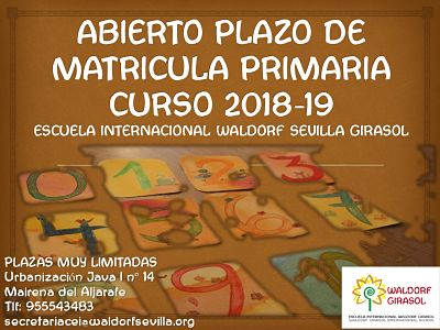 Opened enrolment period 1st and 2º grade elementary school 2018-19