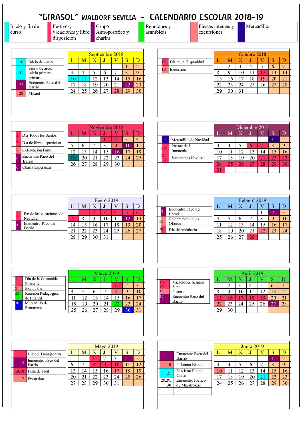 School Year Calendar with meetings, conferences…