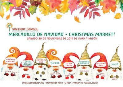 Invitación Mercadillo Navidad 2019 Escuela Internacional Waldorf Sevilla Girasol